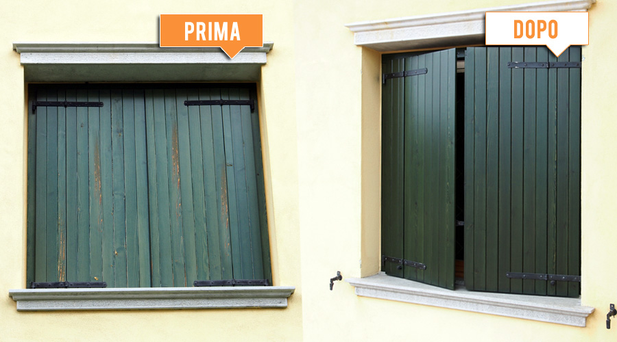 Lavori realizzati legnolux manutenzione restauro for Imposte finestre